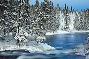 Grass River in winter<br /> Wekusko Provincial Park<br /> Manitoba<br /> Canada