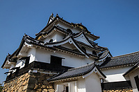 76. Hikone Castle 彦根城  Hikone-jo was completed in 1622 after 20 years of construction using some materials from nearby castles which had been torn down. Hikone Castle was finally finished by Ii Naokatsu. The Ii family remained allies of the <br /> ruling Tokugawa Shogunate throughout the Edo Period.  The castle is an ornate black and white fortress and was the base of the local Ii familydaimyofeudal lord of the area. The top of the keep has wonderful views on a clear day over the surrounding countryside. Hikone-jo retains its original buildings, unlike many Japanese castles that have been rebuilt.