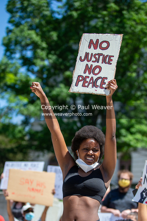 Hundreds of people gathered at the Pennsylvania State Capitol to protest the police killing George Floyd in Minneapolis.