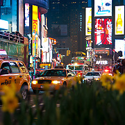 New York taxis and traffic on Times Square in New York City, USA