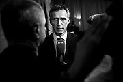 Norwegian PM Jens Stoltenberg seen during a press conference with Angela Merkel in Oslo. Stoltenberg and Merkel discussed the economy, energy and future relationships during the meeting.