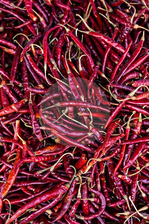 Dried red hot Arbol chili pepper at Benito Juarez market in Oaxaca, Mexico.