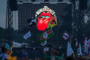 The Rolling Stones play the Pyramid Stage to their fans delight.The 2013 Glastonbury Festival, Worthy Farm, Glastonbury. 29 June 2013.  Guy Bell, 07771 786236, guy@gbphotos.com