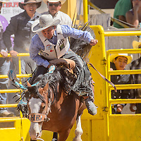 Hank Blackgoat struggles to stay on his horse in the saddle bronc competition during the Navajo Nation Fair rodeo in Window Rock Saturday.