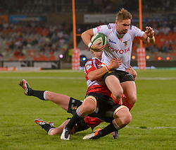 Tienie Burger of the Free State Cheetahs on the way to his try during the Currie Cup Premier division match between the The Free State Cheetahs and the Lions held at Toyota Stadium (Free State Stadium), Bloemfontein, South Africa on the 15th September 2016<br /> <br /> Photo by:   Frikkie Kapp / Real Time Images