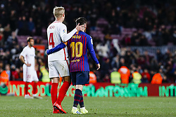 January 30, 2019 - Barcelona, Spain - FC Barcelona forward Lionel Messi (10) and Sevilla FC defender Simon Kjaer (4) during the match FC Barcelona v Sevilla CF, for the round of 8, second leg of the Copa del Rey played at Camp Nou  on 30th January 2019 in Barcelona, Spain. (Credit Image: © Mikel Trigueros/NurPhoto via ZUMA Press)