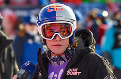 19.01.2019, Olympia delle Tofane, Cortina d Ampezzo, ITA, FIS Weltcup Ski Alpin, Abfahrt, Damen, im Bild Ester Ledecka (CZE) Robert Trenkwalder (Red Bull) // Ester Ledecka of Czech Republic reacts after her run in the ladie's Downhill of FIS ski alpine world cup at the Olympia delle Tofane in Cortina d Ampezzo, Italy on 2019/01/19. EXPA Pictures © 2019, PhotoCredit: EXPA/ Erich Spiess