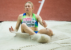 Petra Koren of Slovenia competes in the Triple Jump Women Qualification on day one of the 2017 European Athletics Indoor Championships at the Kombank Arena on March 3, 2017 in Belgrade, Serbia. Photo by Vid Ponikvar / Sportida