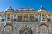 Islamic design of Ganesh Pol, Ganesh Gate, at 16th Century The Amber Fort a Rajput fort, Jaipur, Rajasthan, India