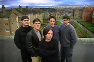The members of the band the Cosmic Rough Riders, pictured in their native Castlemilk, a sprawling estate on the south side of Glasgow...Pic © Colin McPherson, 08/01/01. Tel. 07831 838717..Address: 1 Allan Ramsay Square, Carlops, Penicuik, Midlothian EH26 9NF, Scotland.