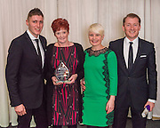 The winners of the 2015 Scottish Border Business Award the Manufacturer of the Year:Giacopazzi's Wholesale Ice Cream, Eyemouth.  Sponsored by Davidson Chalmers LLP.<br /> <br /> The 2015 Scottish Border Business Awards, held at Springwood Hall, Kelso. The awards were run by the Scottish Borders Chambers of Commerce, with guest speaker Keith Brown, MSP. The SBCC chairman Jack Clark and the presenter Fiona Armstrong co hosted the event.