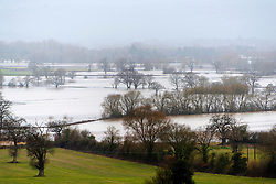 © Licensed to London News Pictures. 21/02/2021.Hereford, Herefordshire, UK. The river Wye bursts it's banks at Whitney-on-Wye in Herefordshire, UK. Photo credit: Graham M. Lawrence/LNP