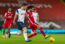 LIVERPOOL, ENGLAND - Wednesday, December 16, 2020: Liverpool's Mohamed Salah (R) and Tottenham Hotspur's Pierre-Emile Højbjerg during the FA Premier League match between Liverpool FC and Tottenham Hotspur FC at Anfield. Liverpool won 2-1. (Pic by David Rawcliffe/Propaganda)