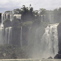 South America, Argentina, Iguacu Falls. View from base of falls.