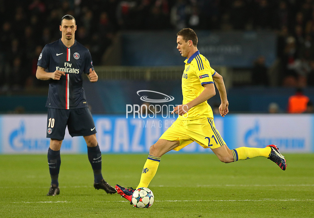 Chelsea's Nemanja Matic on the ball during the Champions League match between Paris Saint-Germain and Chelsea at Parc des Princes, Paris, France on 17 February 2015. Photo by Phil Duncan.
