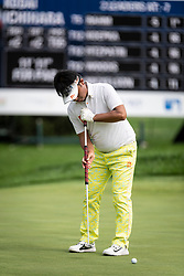 August 2, 2018 - Akron, OH, U.S. - AKRON, OH - AUGUST 02:  Kodai Ichihara of Japan lines-up his putt on the 15th green during the first round of the WGC-Bridgestone Invitational on August 2, 2018 at the Firestone Country Club South Course in Akron, Ohio. (Photo by Shelley Lipton/Icon Sportswire) (Credit Image: © Shelley Lipton/Icon SMI via ZUMA Press)