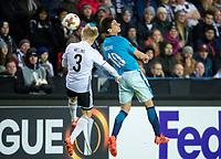 TRONDHEIM, NORWAY - NOVEMBER 02, 2017. UEFA Europa League, round 4: Rosenborg BK (Norway) 1-1 Zenit St Petersburg (Russia). Rosenborg's Birger Meling (L) and Zenit St Petersburg's Emiliano Rigoni (R).