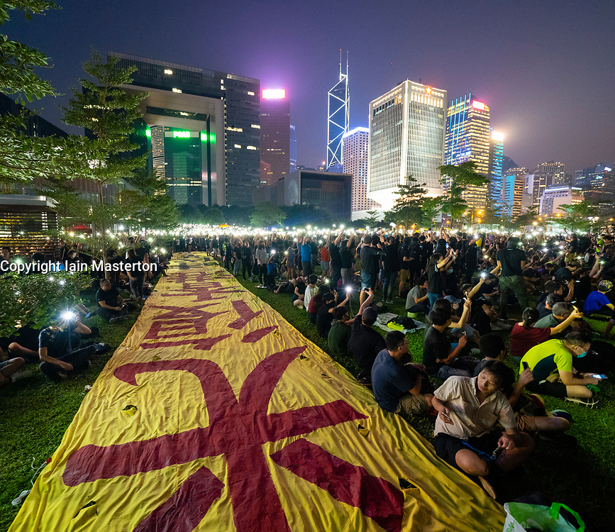 Central, Hong Kong. 29 September, 2019. Rally by thousands of pro-democracy supporters at Central Government offices at Tamar Park to mark the 5th anniversary of the start of the Umbrella Movement. Iain Masterton/Alamy Live News.