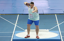 Slovenian athlete Miro Vodovnik in the Shot Put men Qualification when he didn`t qualified for the final at the 2nd day of  European Athletics Indoor Championships Torino 2009 (6th - 8th March), at Oval Lingotto Stadium,  Torino, Italy, on March 6, 2009. (Photo by Vid Ponikvar / Sportida)