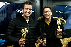 Aljaz Jakob Kaplja and Bor Muzar Schweiger celebrates after the final match during Slovenian men's doubles tennis Championship 2019, on December 29, 2019 in Medvode, Slovenia. Photo by Vid Ponikvar/ Sportida