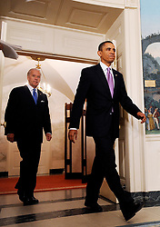"""File photo dated January 21, 2010 of President Barack Obama and Vice-President Joe Biden enter the Diplomatic Room to deliver remarks on financial reform in Washington, DC. Obama announces measures to narrow the size and scope of banks and their investment activities. Former President Barack Obama endorsed Joe Biden, his two-term vice president, on Tuesday morning in the race for the White House. """"Choosing Joe to be my vice president was one of the best decisions I ever made, and he became a close friend. And I believe Joe has all the qualities we need in a president right now,"""" Obama said in a video posted to Twitter. Photo by Olivier Douliery /ABACAPRESS.COM"""