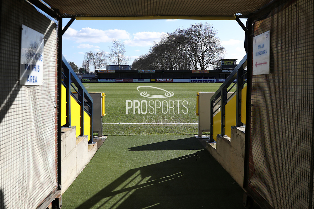 View from the players tunnel during the EFL Sky Bet League 1 match between AFC Wimbledon and Bristol Rovers at the Cherry Red Records Stadium, Kingston, England on 17 February 2018. Picture by Matthew Redman.
