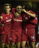 Fotball - Premier League - 11.01.2003<br /> Middlesbrough v Southampton<br /> Luke Wilkshire, Massimo Maccarone og Noal Whelan - Middlesbrough <br /> Foto: Greig Cowie, Digitalsport