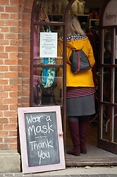 Request to wear a mask before entering a gift shop, Wallingford UK September 2020