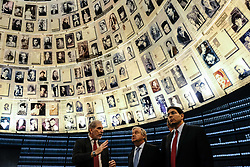 August 28, 2017 - Jerusalem, Israel - United Nations Secretary General ANTONIO GUTERRES (C), gazes up at enlarged Pages of Testimony in the Hall of Names at Yad Vashem Holocaust Museum, where Pages of Testimony of more than 4,000,000 Jewish Holocaust victims are eternally preserved. Escorted by Israeli Ambassador to the UN, DANNY DANON (R), Guterres toured the Holocaust Museum, participated in a memorial ceremony in the Hall of Remembrance, visited the Children's Memorial and signed the museum guest book. This four-day visit to Israel and the Palestinian Authority is Guterres first trip to the Middle East since assuming his post on January 1st, 2017. (Credit Image: © Nir Alon via ZUMA Wire)