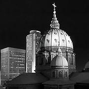 The Basilique Cathédrale Marie-Reine-du-Monde illuminated at night (Montreal, Canada).