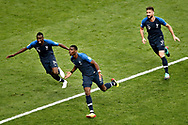 France midfielder Paul Pogba (C) France midfielder Blaise Matuidi (L) and France forwarder Olivier Giroud (R) celebrating the 3-1 of Paul Pogba during the 2018 FIFA World Cup Russia, final football match between France and Croatia on July 15, 2018 at Luzhniki Stadium in Moscow, Russia - Photo Stanley Gontha / Proshots / ProSportsImages / DPPI