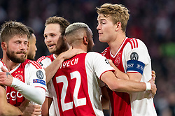 08-05-2019 NED: Semi Final Champions League AFC Ajax - Tottenham Hotspur, Amsterdam<br /> After a dramatic ending, Ajax has not been able to reach the final of the Champions League. In the final second Tottenham Hotspur scored 3-2 / Hakim Ziyech #22 of Ajax scores 2-0, Lasse Schone #20 of Ajax, Matthijs de Ligt #4 of Ajax, Daley Blind #17 of Ajax