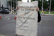 Anti Tory and Brexit protester in Westminster as inside Parliament the Tory leadership race continues on 17th June 2019 in London, England, United Kingdom.
