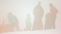 05.02.2013, Planai, Schladming, AUT, FIS Weltmeisterschaften Ski Alpin, Suber G, Damen, im Bild Aufgrund Nebels musste der Start oefters verschoben werden, Feature Silhouetten // Due to the fog had often start be shifted feature silhouettes during ladies SuperG at the FIS Ski World Championships 2013 at the Planai Course, Schladming, Austria on 2013/02/05. EXPA Pictures © 2013, PhotoCredit: EXPA/ Johann Groder