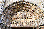West Facade, Central Portal Tympanum - General View c. 1145. Cathedral of Chartres, France . The tympanum shows gothic sculptures of Christ in Majesty surrounded by the four Evangelist Symbols. The inner archivolt contains angels. On the two outer archivolts are the twenty-four elders of the Apocalypse. On the lintel are the twelve Apostles flanked by two other figures holding scrolls (Elisha and Enoch?). A UNESCO World Heritage Site. . .<br /> <br /> Visit our MEDIEVAL ART PHOTO COLLECTIONS for more   photos  to download or buy as prints https://funkystock.photoshelter.com/gallery-collection/Medieval-Middle-Ages-Art-Artefacts-Antiquities-Pictures-Images-of/C0000YpKXiAHnG2k