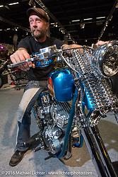 """Johnny Martinsson of Stockholm, Sweden on his Jolly Jumper 93"""" S&S Panhead on display in the AMD World Championship of Custom Bike Building show in the custom dedicated Hall 10 at the Intermot Motorcycle Trade Fair. Cologne, Germany. Saturday October 8, 2016. Photography ©2016 Michael Lichter."""