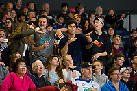 KELOWNA, CANADA - NOVEMBER 17: Fans dance in the stands on November 17, 2017 at Prospera Place in Kelowna, British Columbia, Canada.  (Photo by Marissa Baecker/Shoot the Breeze)  *** Local Caption ***
