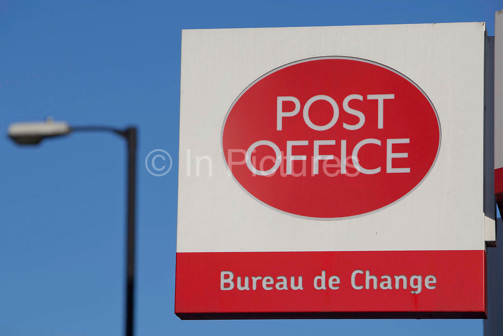 The Post Office sign, outside their branch at Stamford Hill, London.