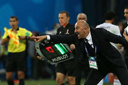 June 19, 2018 - Saint Petersburg, Russia - Head Coach Stanislav Cherchesov of the Russia national football team reacts during the 2018 FIFA World Cup match, first stage - Group A between Russia and Egypt at Saint Petersburg Stadium on June 19, 2018 in St. Petersburg, Russia. (Credit Image: © Igor Russak/NurPhoto via ZUMA Press)