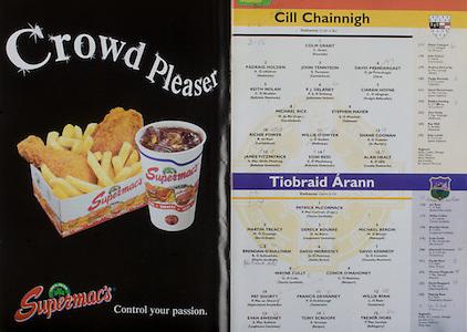 All Ireland Senior Hurling Championship Final,.08.09.2002, 09.08.2002, 8th September 2002,.Senior Kilkenny 2-20, Clare 0-19,.Minor Kilkenny 3-15, Tipperary 1-7,.8092002AISHCF,.Supermac's, ..Kilkenny, 1 Colm Grant, Emeralds, 2 Padraig Holden, Shamrocks, 3 John Tennyson, Carrickshock, 4 David Prendergast, Clara, 5 Keith Nolan, Ballyhale Shamrocks, 6 PJ Delaney, Johnstown Fenians, 7 Ciaran Hoyne, Graigue Ballycallan, 8 Michael Rice, Carrickshock, 9 Stephen Maher, Tullaroan, 10 Richie Power, Carrickshock, 11 Willie O'Dwyer, Mullinavat, 12 Shane Coonan, St Martin's, 13 James Fitzpatrick, Ballyshale, 14 Eoin Reid, Ballyhale Shamrocks, 15 Alan Healy, Conahy Shamrocks, ..Tipperary, 1 Patrick McCormack captain, Thurles Sarsfield, 2 Martin Treacy, Borris Ileaggh, 3 Dereck Bourke, Loughmore castleiney, 4 Michael Bergin, Moneygall, 5 Brendan O'Sullivan, Thurles Sarsfield, 6 David Morrissey, Galtee Rovers, 7 David Kennedy, Colnoulty Rossmore, 8 Wayne Cully, Thurles Sarsfield,9 Conor O'Mahoney, Newport, 10 Pat Shortt, Upperchurch Drombane, 11 Francis Devanney, Toomevara, 12 WIllie Ryan, Toomervara, 13 Evan Sweeney, Loughmore Castleiney, 14 Tony Scroope, Burgess, 15 Trevor Ivors, Ballingarry,
