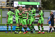 FGR players celebrate Liam Nobles goal, 2-0 during the Vanarama National League match between Forest Green Rovers and Chester FC at the New Lawn, Forest Green, United Kingdom on 14 April 2017. Photo by Shane Healey.