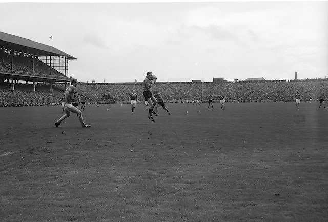 Down player catches ball mid air during the All Ireland Senior Gaelic Football Final Kerry v Down in Croke Park on the 22nd September 1968. Down 2-12 Kerry 1-13.