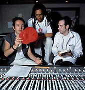 Big Audio Dynamite - Joe Strummer , Don Letts and Mick Jones at Trident Studios London 1986