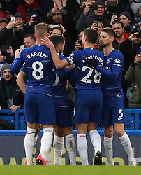 Chelsea's Eden Hazard (centre left) celebrates scoring his side's second goal of the game with team mates