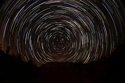 August 18, 2017 - Los Angeles, California, U.S - Star trails are seen above the Joshua Tree National Park in Twentynine Palms, California, August 18, 2017. (Credit Image: © Ringo Chiu via ZUMA Wire)
