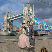 Oriental couple per-wedding shoot at Tower bridge on 18 July 2019, City of London, UK.