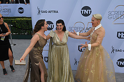 January 27, 2019 - Los Angeles, California, U.S - RACHEL BLOOM, KIMMY GATEWOOD AND REBEKKA JOHNSON during silver carpet arrivals for the 25th Annual Screen Actors Guild Awards, held at The Shrine Expo Hall. (Credit Image: © Kevin Sullivan via ZUMA Wire)