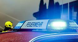 THEMENBILD - die Aufschrift Feuerwehr und Blaulicht eines Einsatzfahrzeuges bei Löscharbeiten während eines Brandes in einer Tischlerei, aufgenommen am 06.09.2016, Kaprun, Österreich // the inscription firefighters and blue light of an emergency vehicle while a fire fighting in Kaprun, Austria on 2016/09/06. EXPA Pictures © 2016, PhotoCredit: EXPA/ JFK