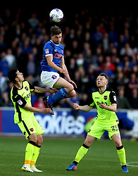 Shaun Miller of Carlisle United heads the ball - Mandatory by-line: Robbie Stephenson/JMP - 14/05/2017 - FOOTBALL - Brunton Park - Carlisle, England - Carlisle United v Exeter City - Sky Bet League Two Play-off Semi-Final 1st Leg