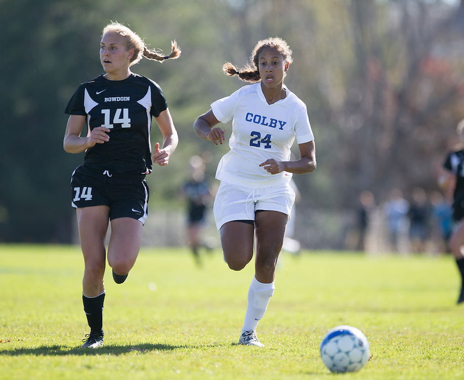 Aliza Van Leesten, of Colby College, during a NCAA Division III women's soccer game on October 25, 2014 in Waterville, ME. (Dustin Satloff/Colby College Athletics)
